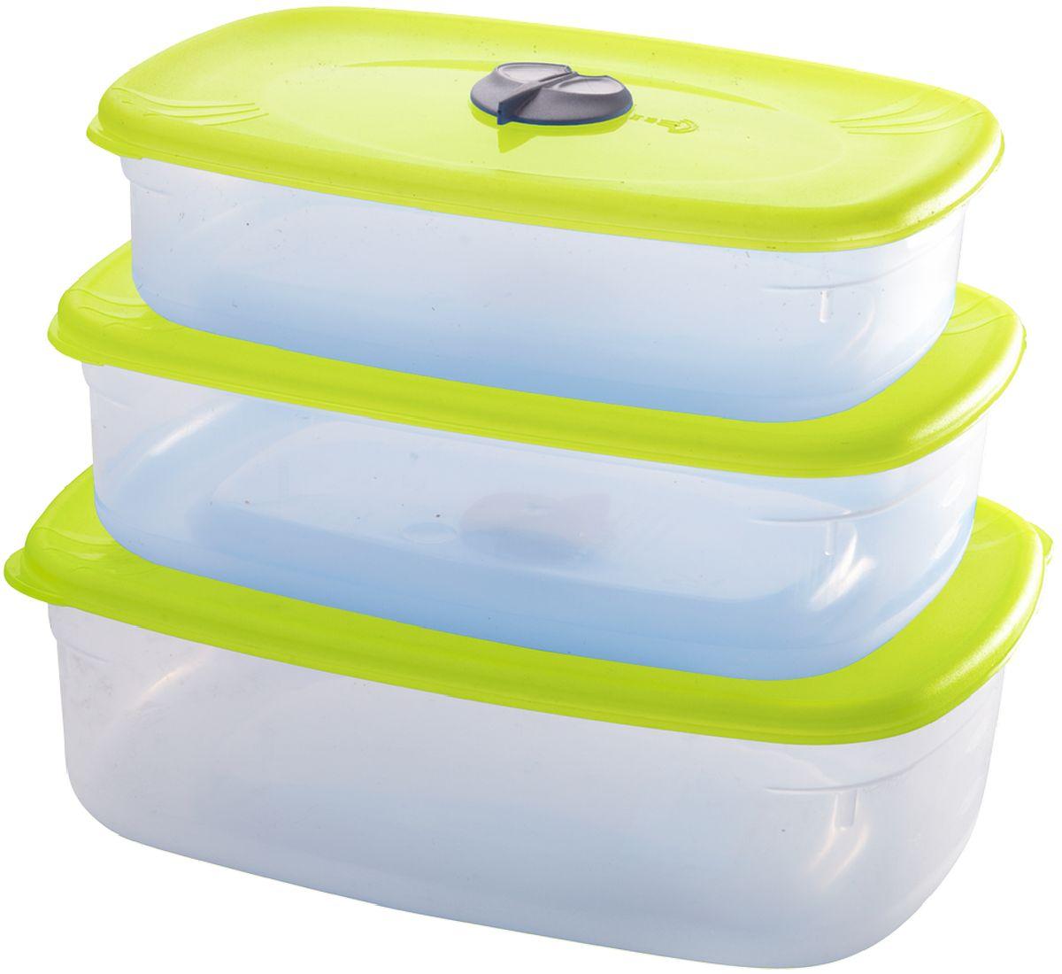 Комплект емкостей для СВЧ Plastic Centre, с паровыпускным клапаном, цвет: светло-зеленый, прозрачный, 3 шт емкость для хранения plastic centre сфера цвет светло зеленый прозрачный 2 л