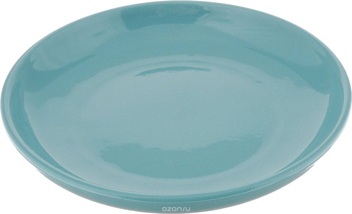 """Тарелка Борисовская керамика """"Радуга"""", цвет: бирюзовый, диаметр 18 см"""