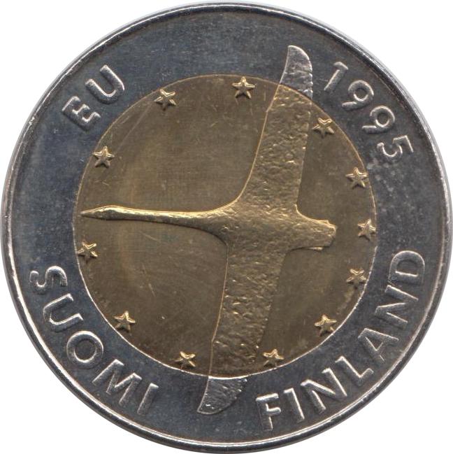 Монета номиналом 10 марок Вступление Финляндии в Европейский союз. Финляндия, 1995 год монета номиналом 10 марок финляндия 1952