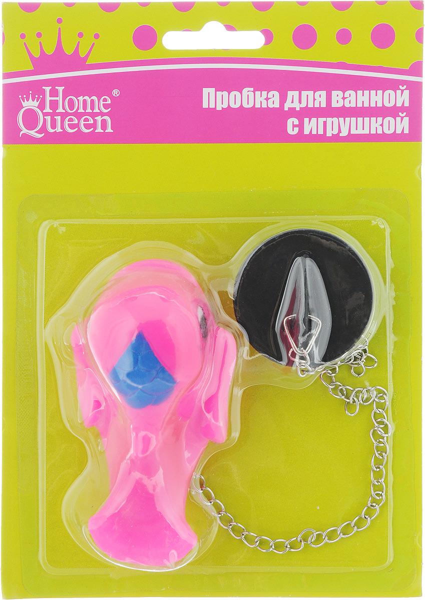 Пробка для ванны Home Queen Дельфин, цвет: розовый противень home queen прямоугольный 32 см х 20 см 5 шт