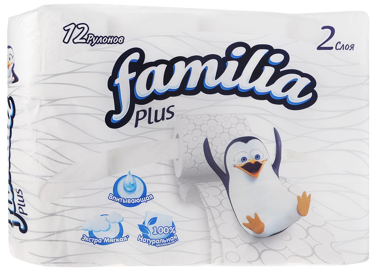 Туалетная бумага Familia, двухслойная, цвет: белый, 12 рулонов туалетная бумага familia plus магический цветок двухслойная цвет белый 4 шт