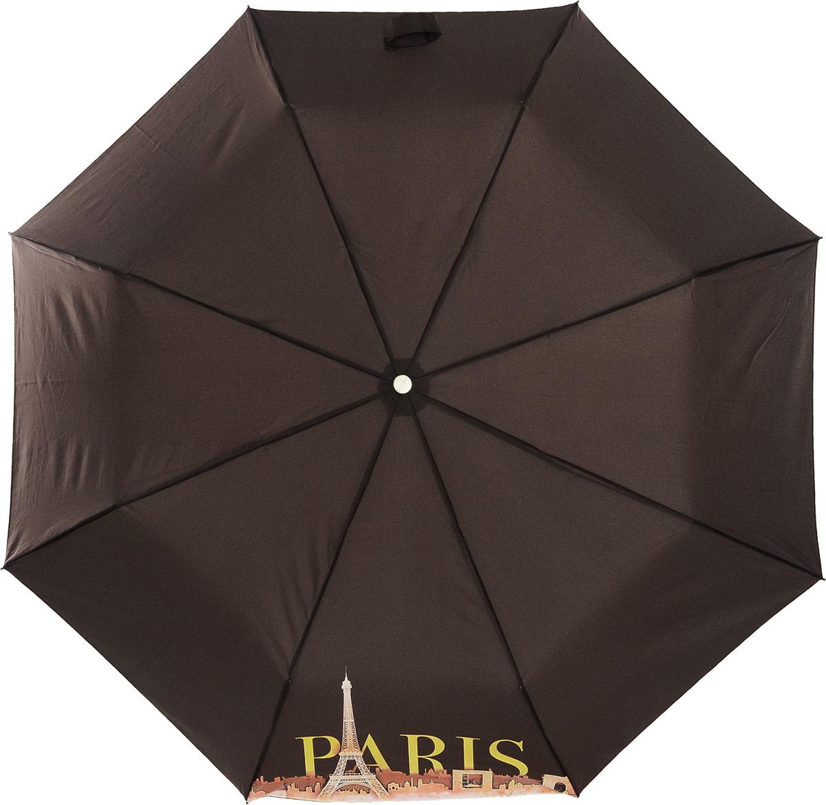 Зонт женский Airton, автомат, 3 сложения, цвет: шоколадный, оранжевый, желтый. 3912-709 зонт airton 3917 8028 полный автомат женский