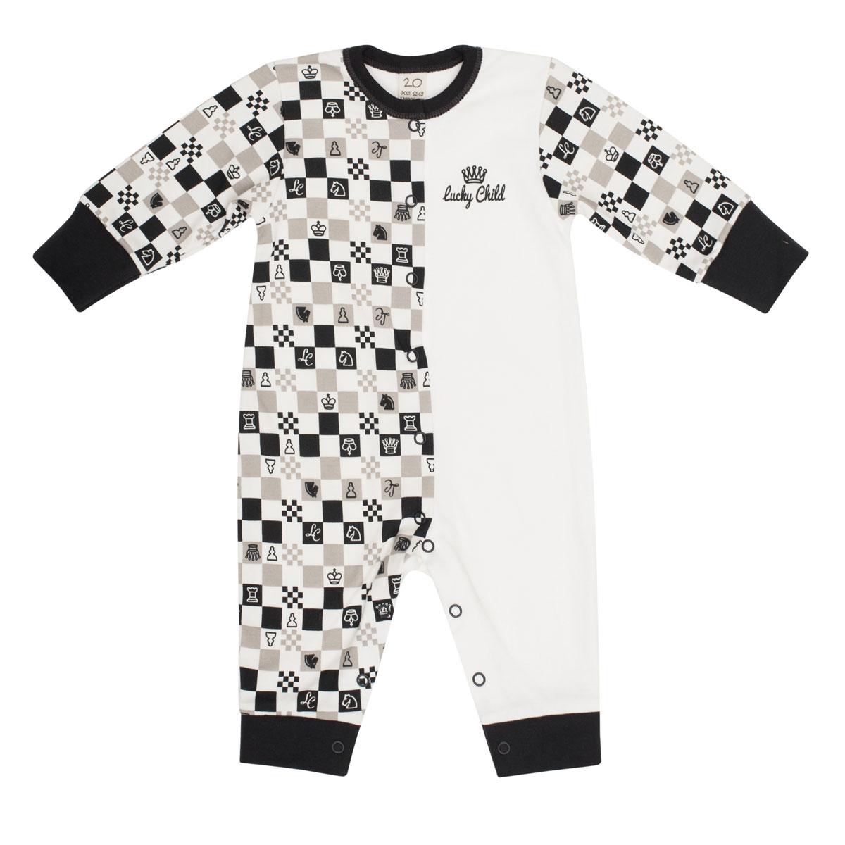 Комбинезон домашний Lucky Child Шахматный турнир кофта для девочки lucky child шахматный турнир цвет молочный темно серый 29 20д размер 68 74
