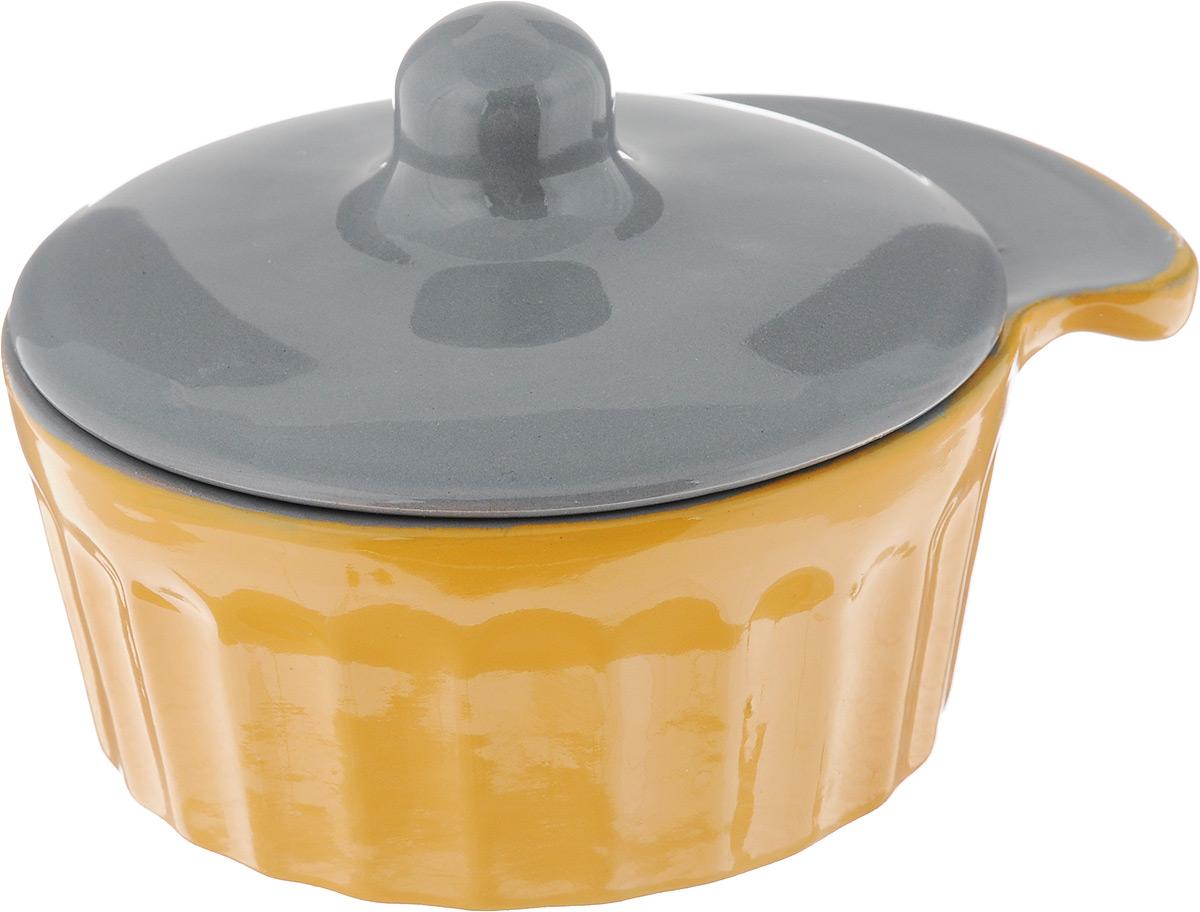 Кокотница Борисовская керамика Ностальгия с крышкой, цвет: светло-оранжевый, серый, 200 мл кокотница борисовская керамика ностальгия цвет оранжевый 200 мл рад14457899