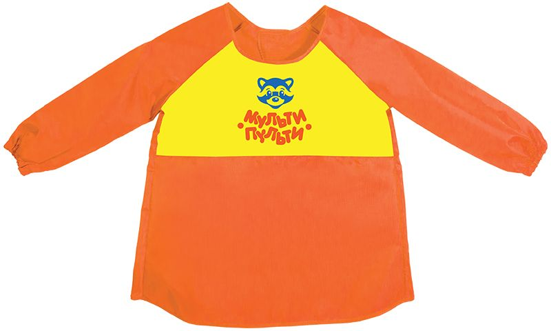 Фото - Мульти-Пульти Фартук детский с рукавами Приключения Енота цвет оранжевый песок для игры детский мульти пульти приключения енота с формочкой пн 15811 4 цвета 560 г