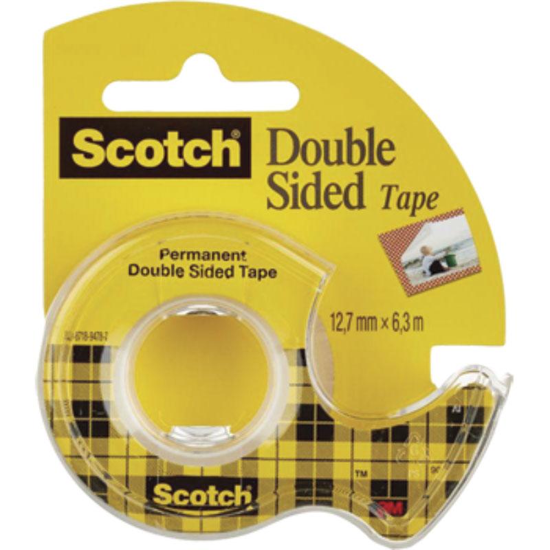 Scotch Двусторонняя клейкая лента на диспенсере 12,7 х 6300 мм лента клейкая двусторонняя scotch 12 мм х 10 м