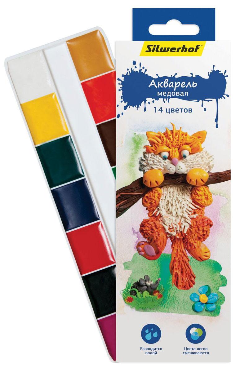 Silwerhof Акварель медовая Пластилиновая коллекция Кот 14 цветов набор текстовыделителей silwerhof prime 4 цвета 108031 00