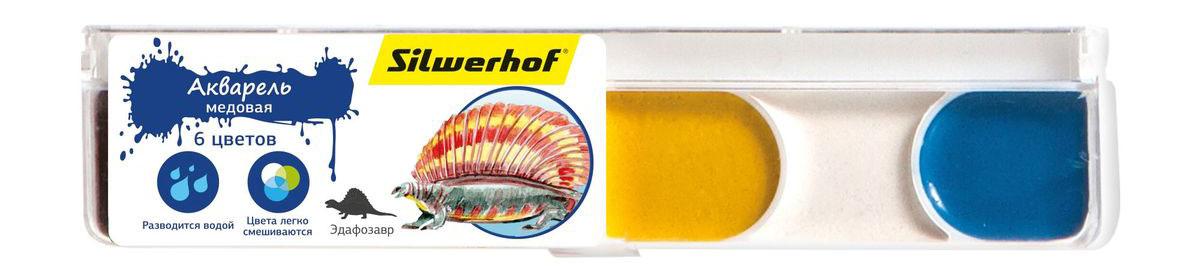 Silwerhof Акварель медовая Динозавры 6 цветов набор текстовыделителей silwerhof prime 4 цвета 108031 00