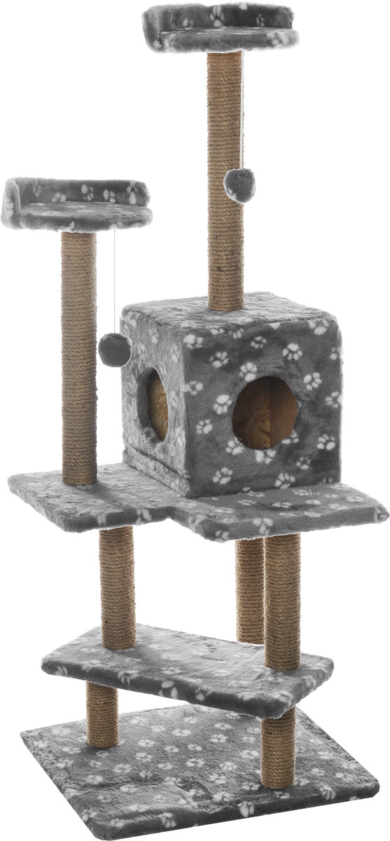 Меридиан, Комплекс для кошек Лестница, джут, рис. Лапки (серый фон, белый рисунок), 56 х 50 х 142 см