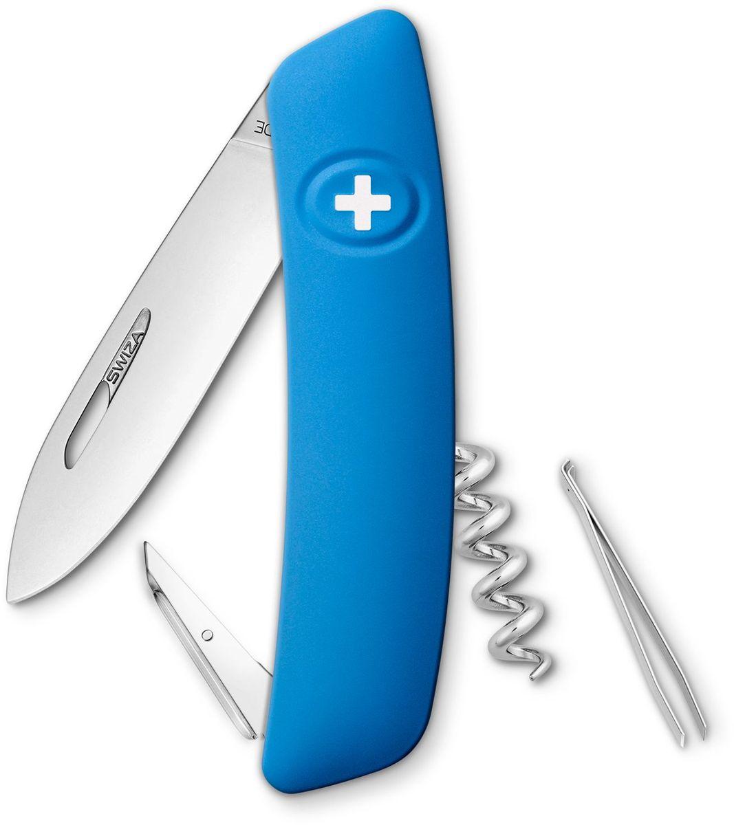 Нож швейцарский SWIZA D01, цвет: синий, длина клинка 7,5 см