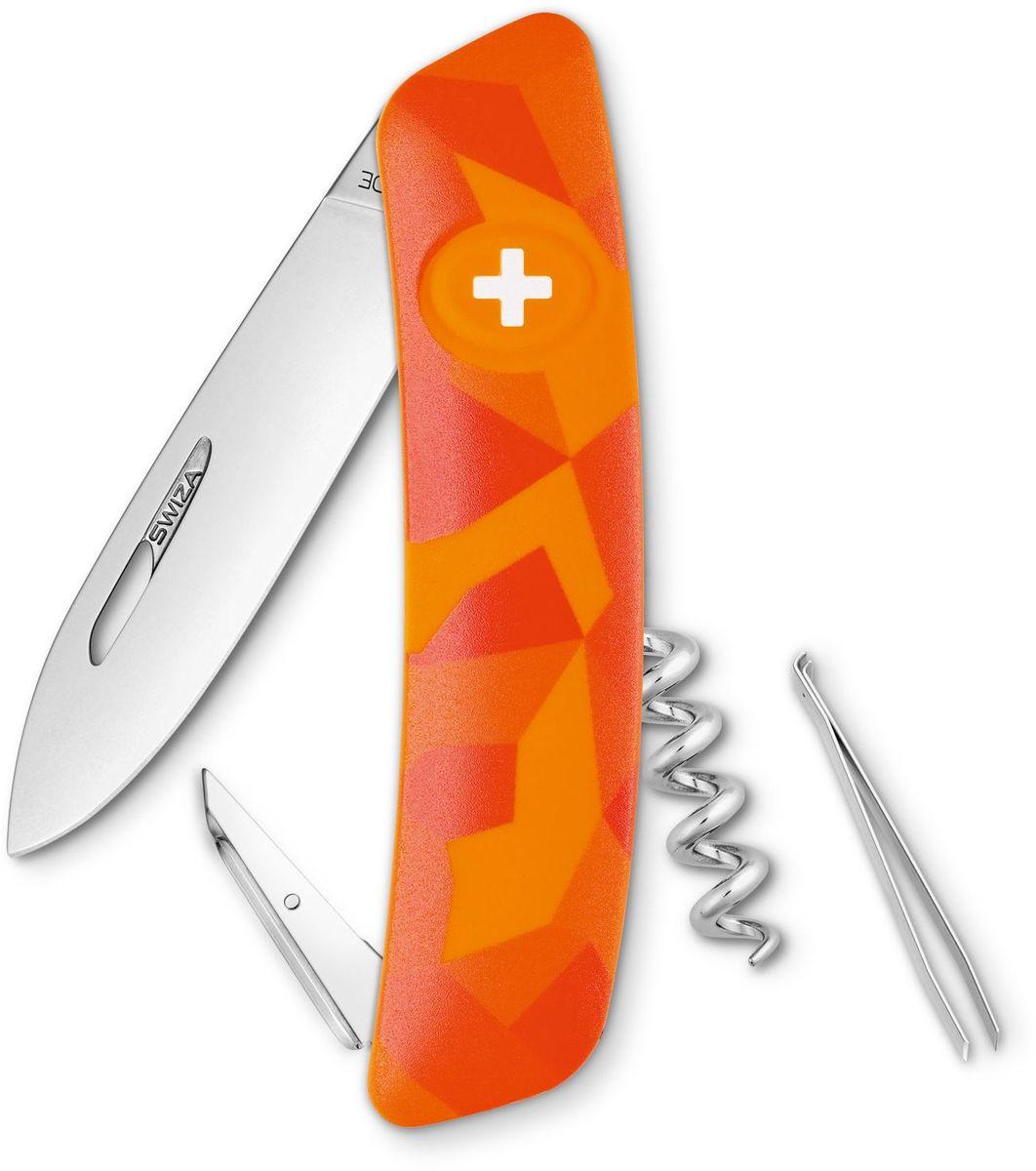 Нож швейцарский SWIZA C01, цвет: оранжевый, длина клинка 7,5 см