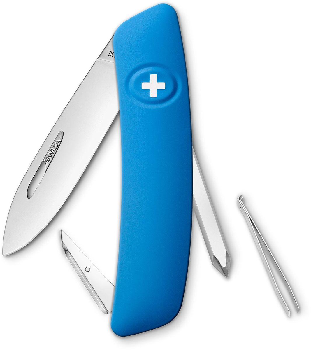 Нож швейцарский SWIZA D02, цвет: синий, длина клинка 7,5 см