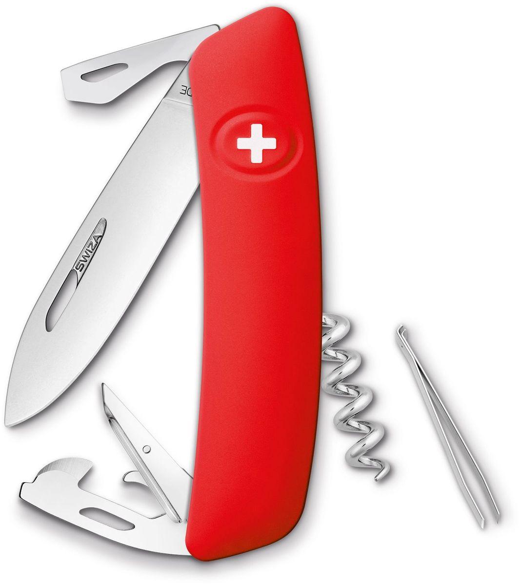Нож швейцарский SWIZA D03, KNI.0030.1000, красный, длина клинка 7.5 см