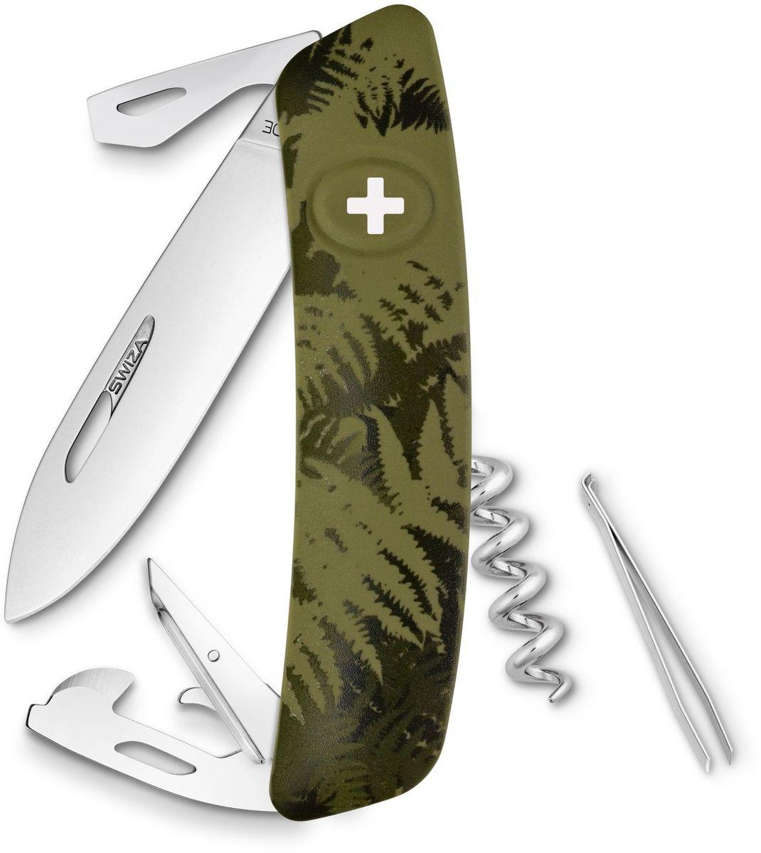 Нож швейцарский SWIZA С03, цвет: темно-зеленый, длина клинка 7,5 см