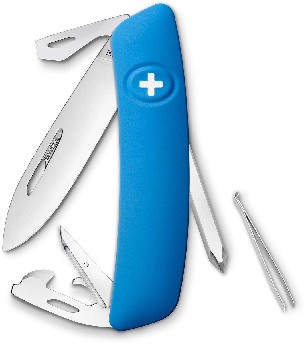 Нож швейцарский SWIZA D04, цвет: синий, длина клинка 7,5 см
