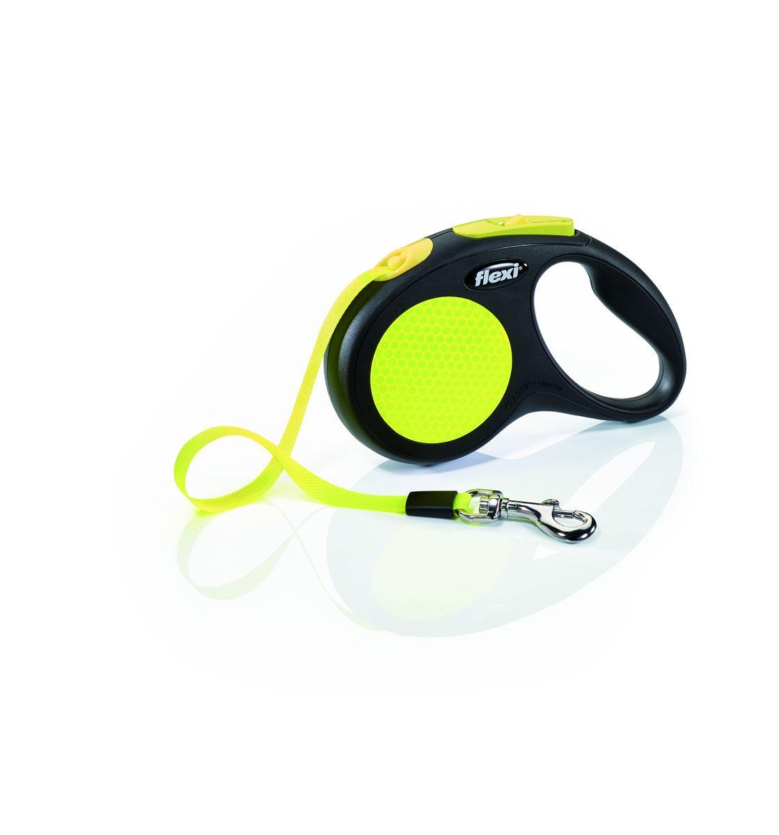 """Поводок-рулетка Flexi """"Neon New Classic S"""", лента, для собак весом до 15 кг, 5 м"""