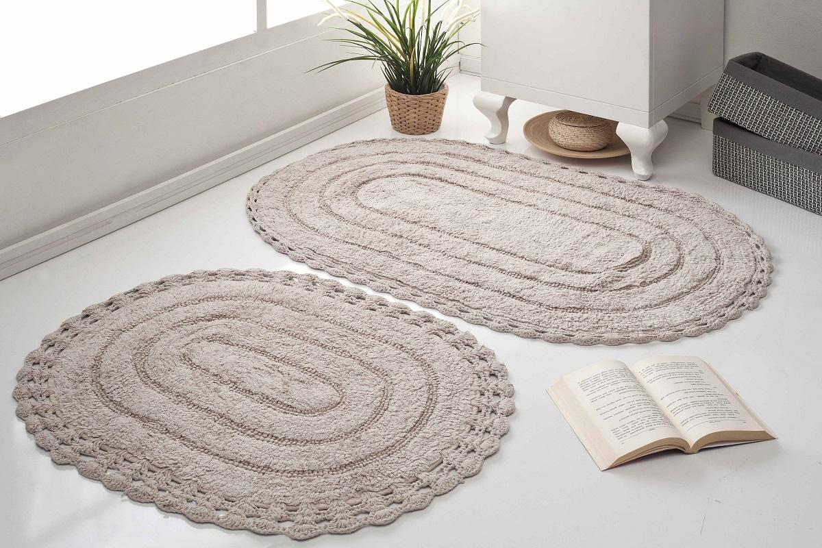 Набор ковриков для ванной Karna Modalin. Yana, цвет: капучино, 2 шт набор ковриков для ванной modalin yana 2 предмета мятный