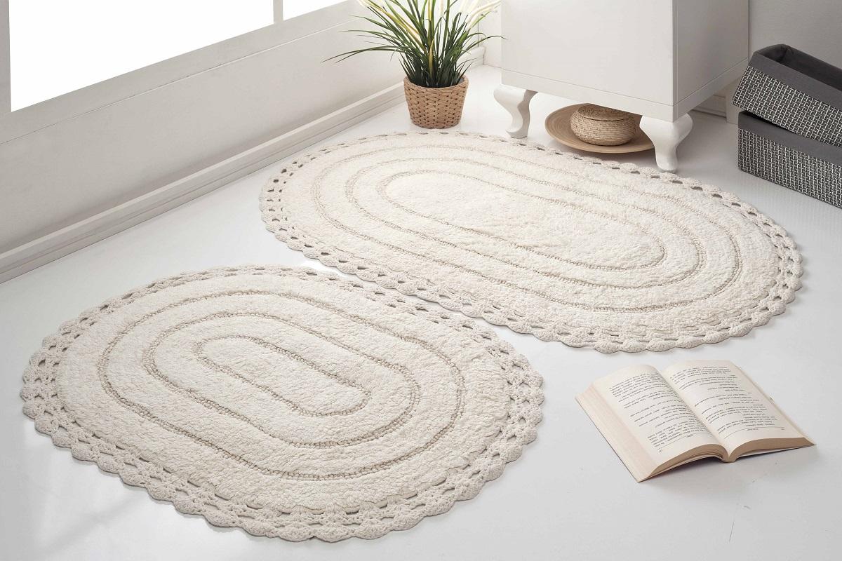 Набор ковриков для ванной Karna Modalin. Yana, цвет: кремовый, 2 шт набор ковриков для ванной modalin yana 2 предмета мятный