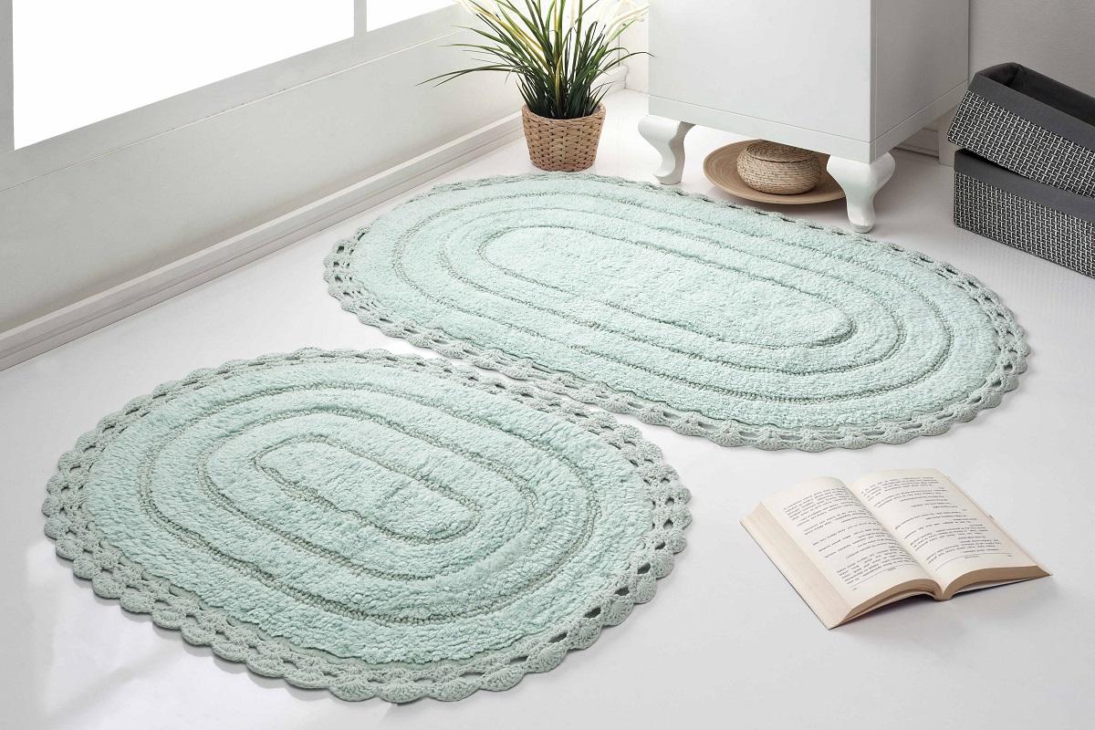 Набор ковриков для ванной Karna Modalin. Yana, цвет: ментоловый, 2 шт набор ковриков для ванной modalin yana 2 предмета мятный
