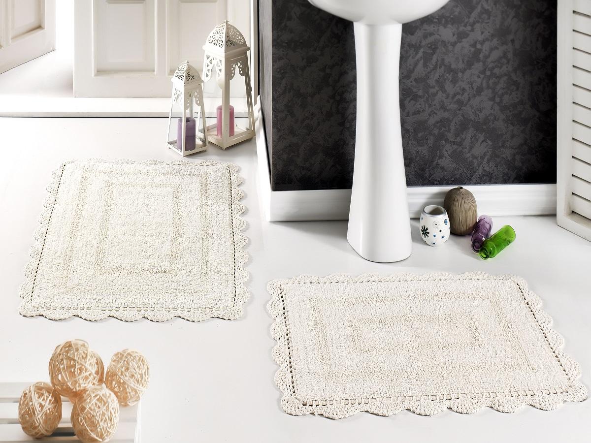 """Набор ковриков для ванной Karna """"Modalin. Evora"""", цвет: кремовый, 2 шт"""