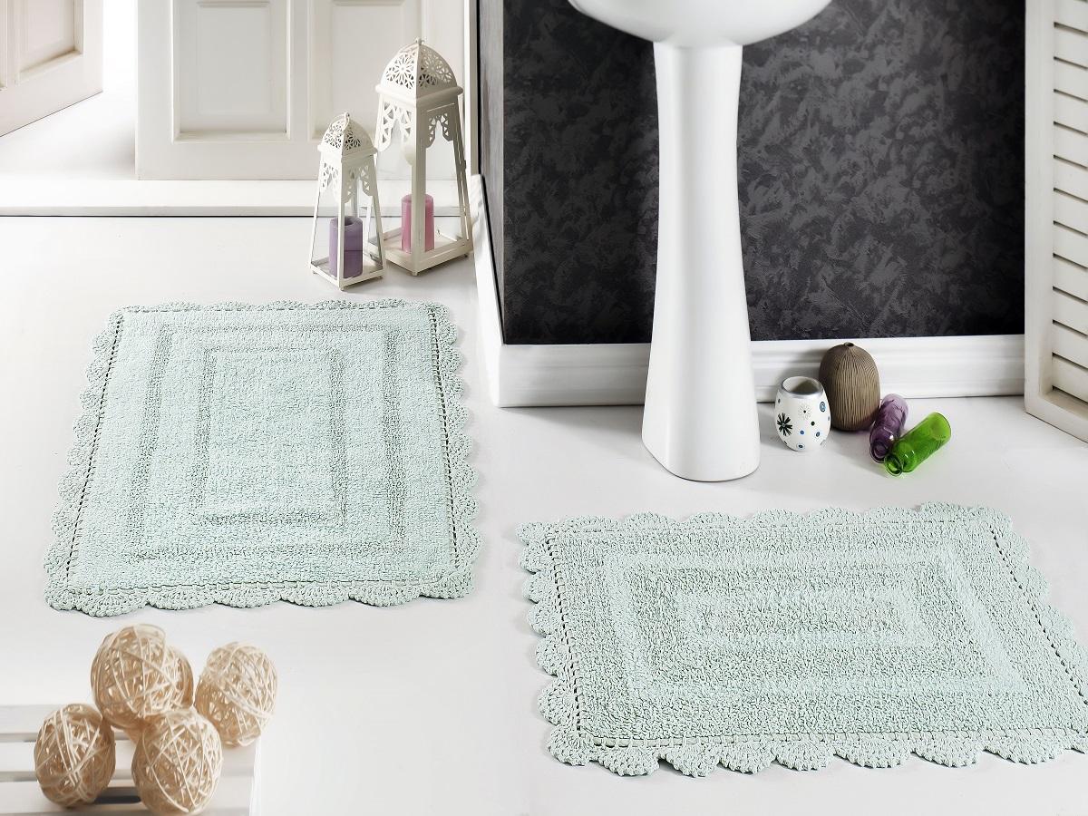 """Набор ковриков для ванной Karna """"Modalin. Evora"""", цвет: светло-зеленый, 2 шт"""