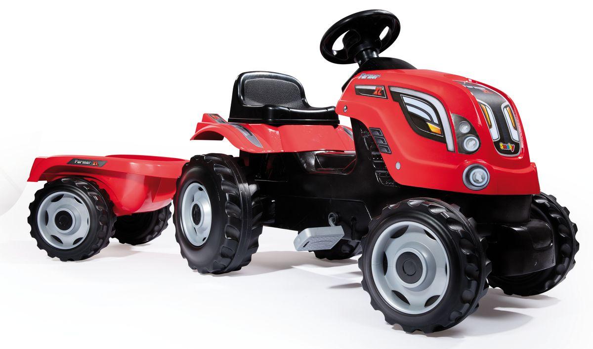 Smoby Трактор педальный Farmer XL с прицепом цвет красный smoby 710108 трактор педальный xl с прицепом красный