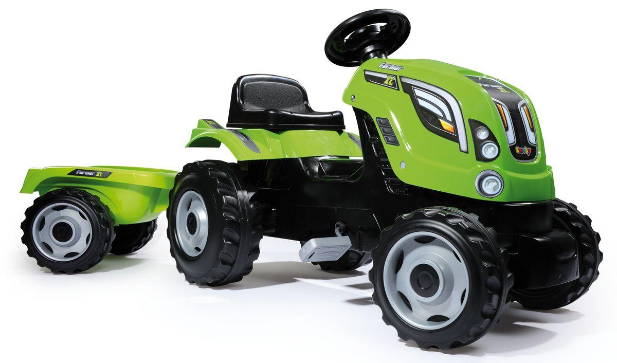 Smoby Трактор педальный Farmer XL с прицепом цвет зеленый smoby 710108 трактор педальный xl с прицепом красный