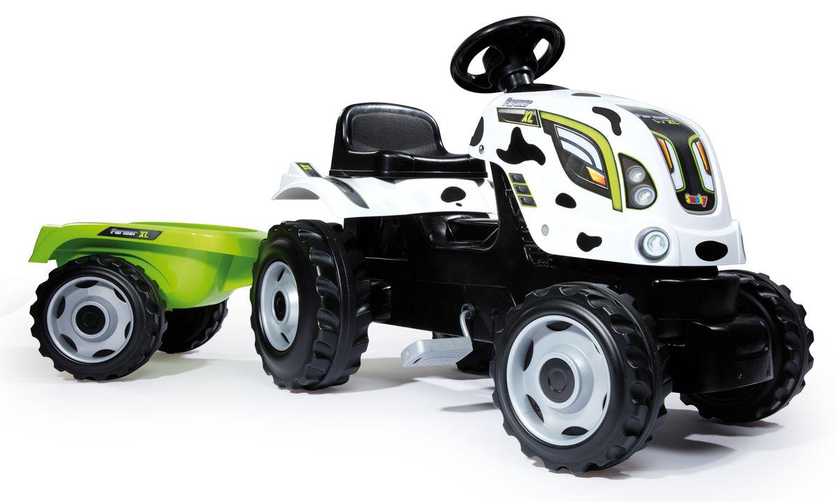 Smoby Трактор педальный Farmer XL с прицепом цвет белый черный smoby 710108 трактор педальный xl с прицепом красный