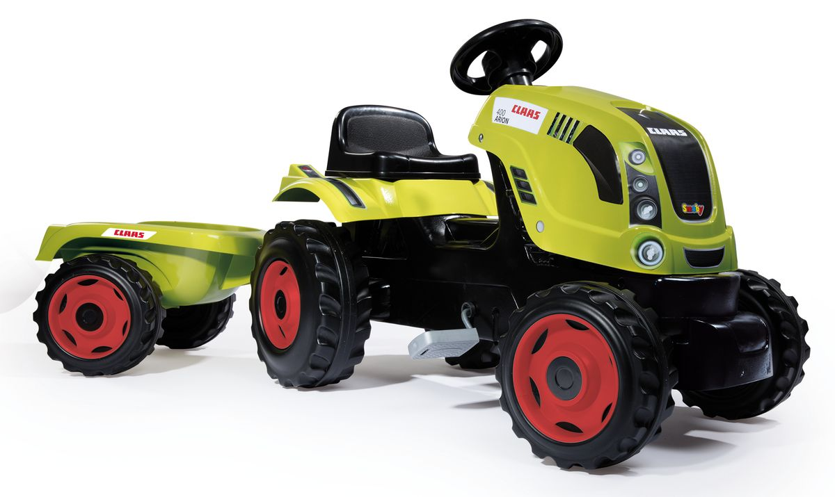 Smoby Трактор педальный CLAAS XL с прицепом smoby 710108 трактор педальный xl с прицепом красный
