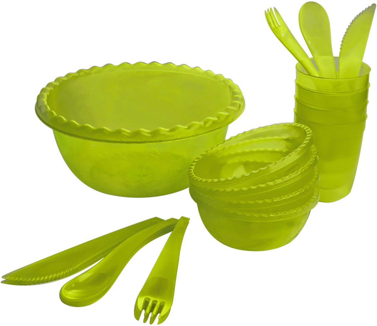 Набор для пикника Plastic Centre Фазенда, цвет: зеленый, прозрачный, на 4 персоны набор для пикника пикник 4