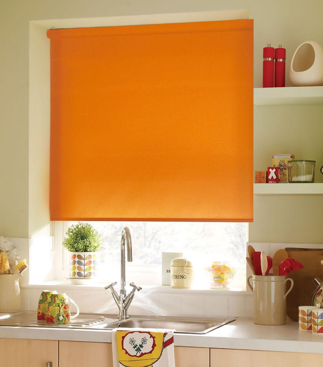 """Штора рулонная Эскар """"Ролло. Однотонные"""", цвет: апельсин, ширина 150 см, высота 170 см"""