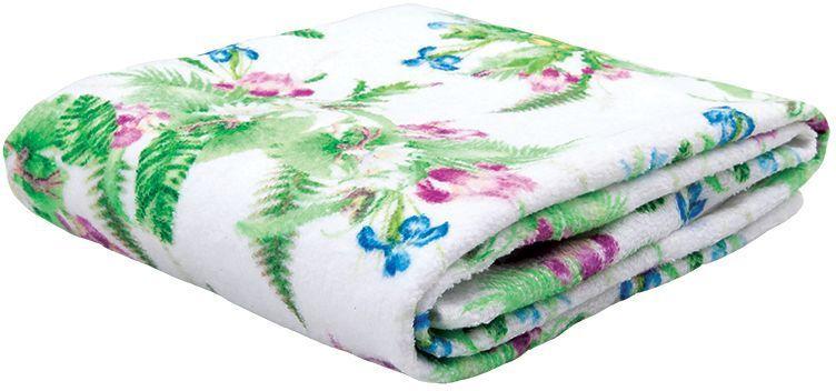 Полотенце банное Mona Liza Iris, цвет: белый, 70 х 140 см mona liza mona liza плед monet classic 140 180 пыльная роза