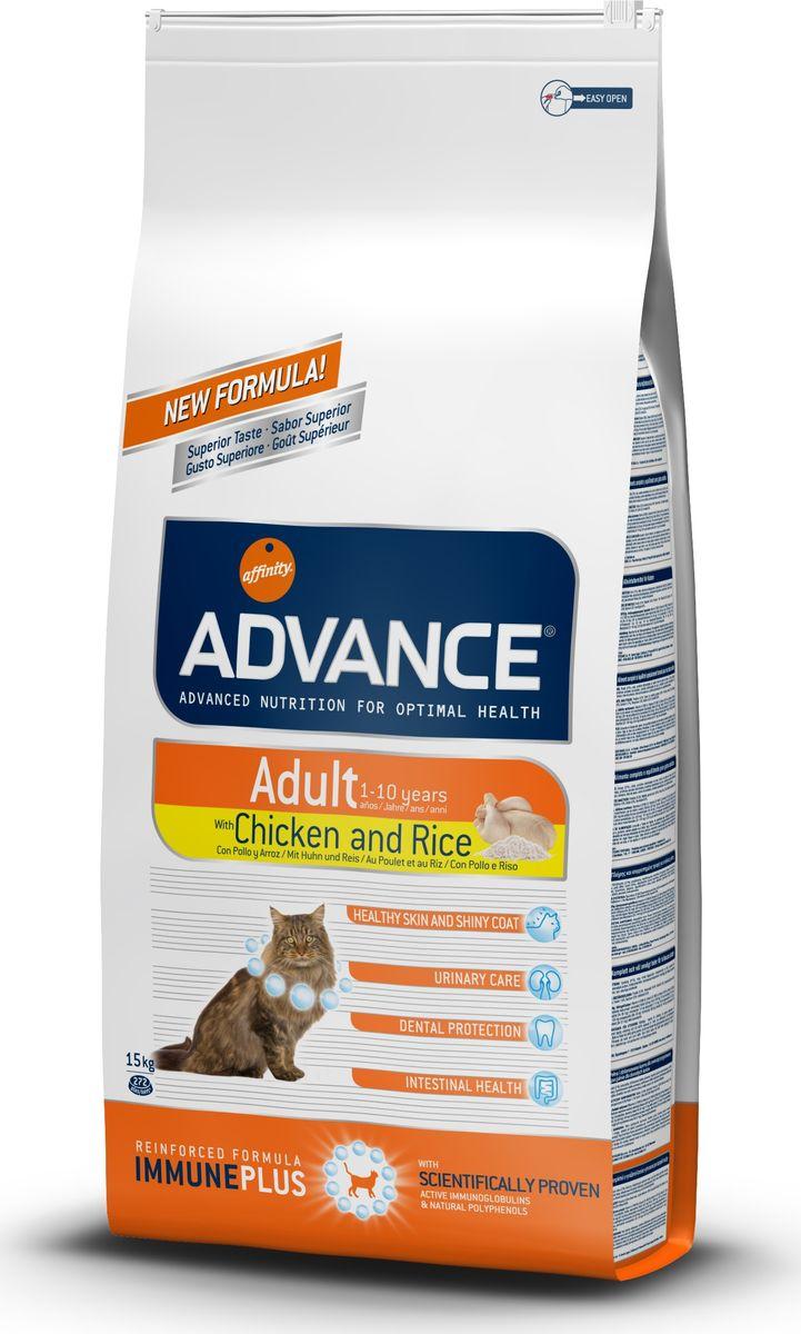 Корм сухой Advance для взрослых кошек, с курицей и рисом, 15 кг