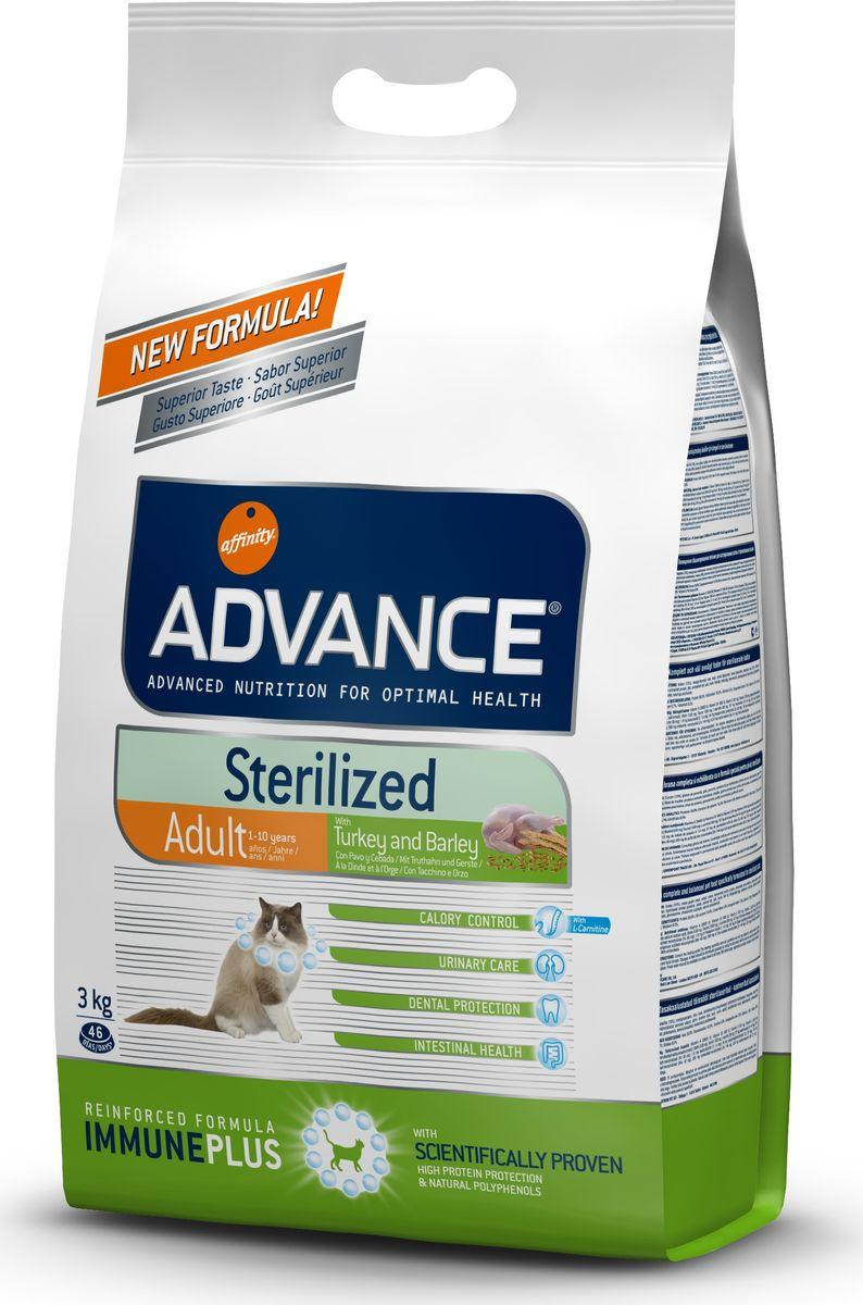 """Корм сухой Advance """"Sterilized"""" для стерилизованных кошек, с индейкой, 3 кг"""