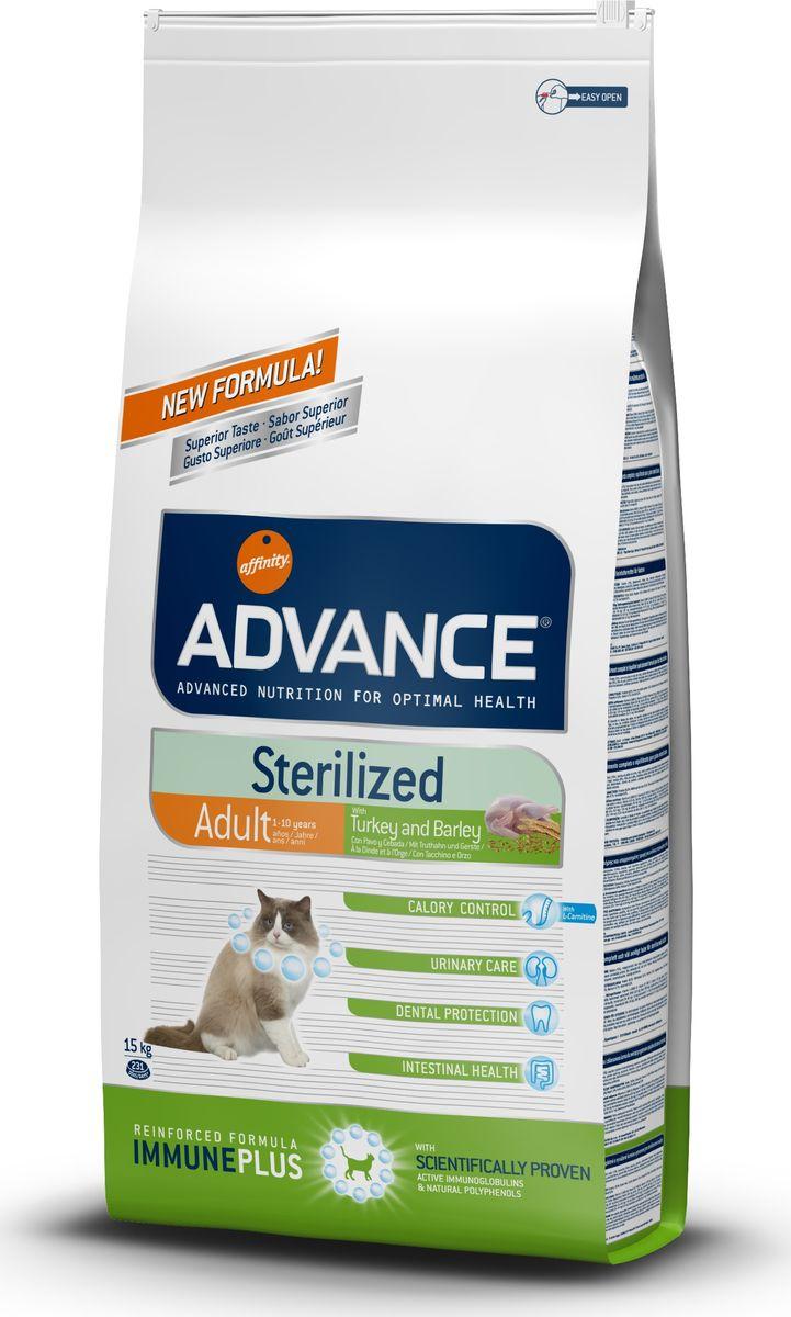 Корм сухой Advance Sterilized Turkey для стерилизованных кошек, с индейкой, 15 кг20735/921865Advance - высококачественный корм супер-премиум класса испанской компании Affinity Petcare, которая занимает лидирующие места на европейском и мировом рынках. Корм разработан с учетом всех особенностей развития и жизнедеятельности собак и кошек. В линейке кормов Advance любой хозяин может подобрать необходимое питание в соответствии с возрастом и уникальными особенностями своего животного, а также в случае назначения специалистами ветеринарной диеты. Affinity Petcare имеет собственную лабораторию, а также сотрудничает с множеством международных исследовательских центров, благодаря чему специалисты постоянно совершенствуют рецептуру и полезные свойства своих кормов. В составе главным источником белка является СВЕЖЕЕ мясо, благодаря которому корм обладает высокими вкусовыми качествами, а также высокой питательной ценностью. Корм сухой Advance Sterilized Turkey помогает предотвратить ожирение у стерилизованных кошек: более низкое содержание калорий не позволяет потреблять калорий больше, чем это необходимо животному; высокое содержание клетчатки увеличивает чувство насыщения; высокое содержание протеинов вместе с умеренным содержанием жира помогает сохранять мышечную массу животного. Уменьшает риск появления мочекаменной болезни или камней: ингредиенты корма помогают поддержать необходимый рН мочи и стимулируют диурез. Благодаря содержанию в корме глюкозамина, предотвращается образование мочекаменной болезни или образованию камней. Улучшает гормональные функции инсулина: более...