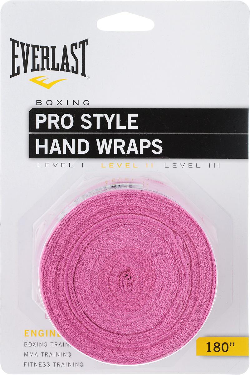 "Бинты боксерские Everlast ""Pro style"", эластичные, цвет: розовый, длина 4,55 м, 2 шт"