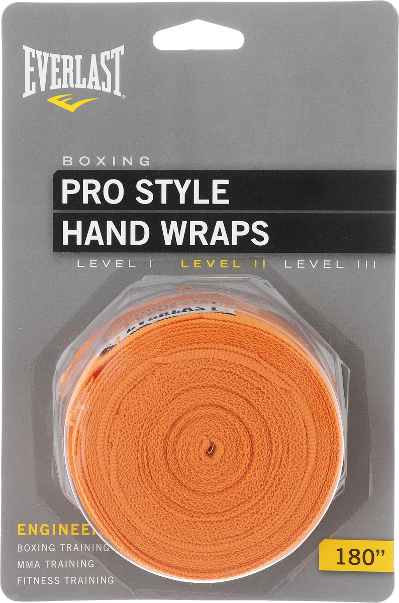 "Бинты боксерские Everlast ""Pro style"", эластичные, цвет: оранжевый, длина 4,55 м, 2 шт"
