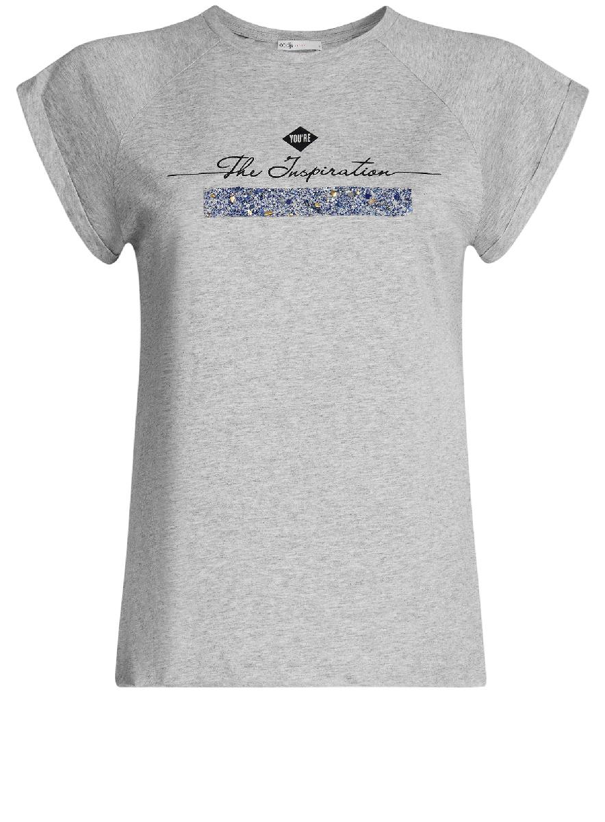 Футболка женская oodji Ultra, цвет: светло-серый, черный. 14707001-8/26204/2029Z. Размер XS (42)14707001-8/26204/2029ZФутболка с короткими рукавами-реглан и круглым вырезом горловины выполнена из натурального хлопка. На груди модель декорирована надписью.