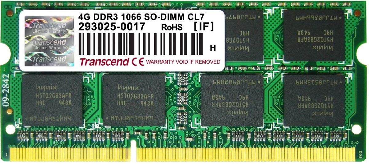 Модуль оперативной памяти Transcend DDR3 SO-DIMM 4GB 1066МГц (TS512MSK64V1N)