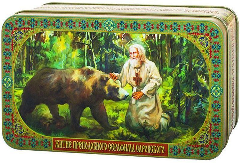 Шкатулка подарочная Преподобный Серафим Саровский и Медведь черный листовой чай РЕКОЕ, 100 г шкатулка подарочная неупиваемая чаша черный листовой чай 100 г