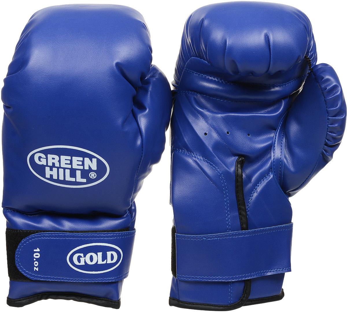 Перчатки боксерские Green Hill Gold, цвет: синий. Вес 10 унций