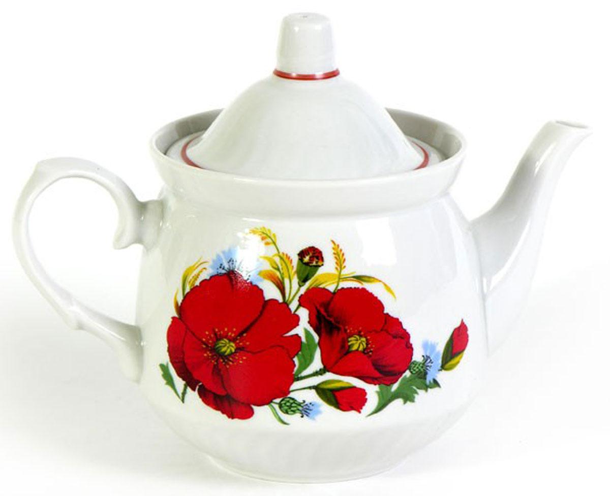 Чайник заварочный Кирмаш. Маки красные, 550 мл салатник добрушский фарфоровый завод идиллия маки красные 360 мл