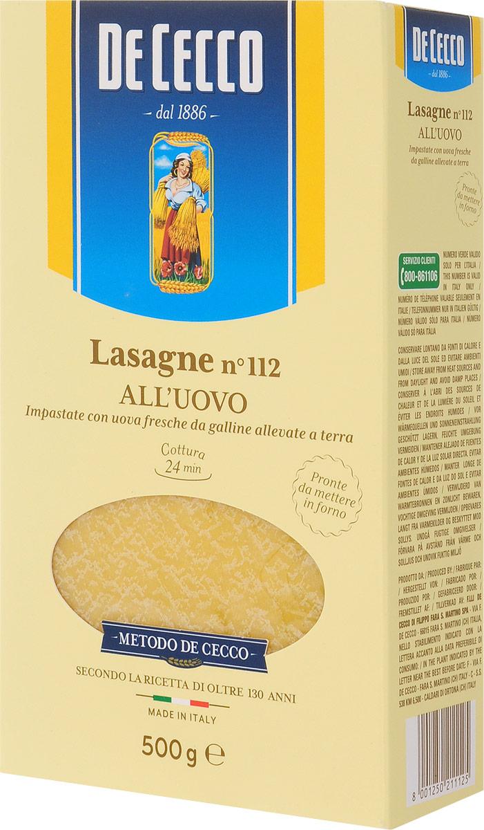 De Cecco паста лазанья с добавлением яйца №112, 500 г