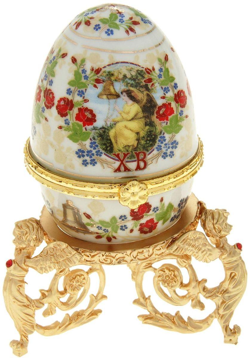 Яйцо-шкатулка Sima-land Ангел, на металлической подставке, 10 х 6 х 6 см шкатулка царский подарок с сюрпризом металл полихромные эмали стразы monet сша начало xxi века