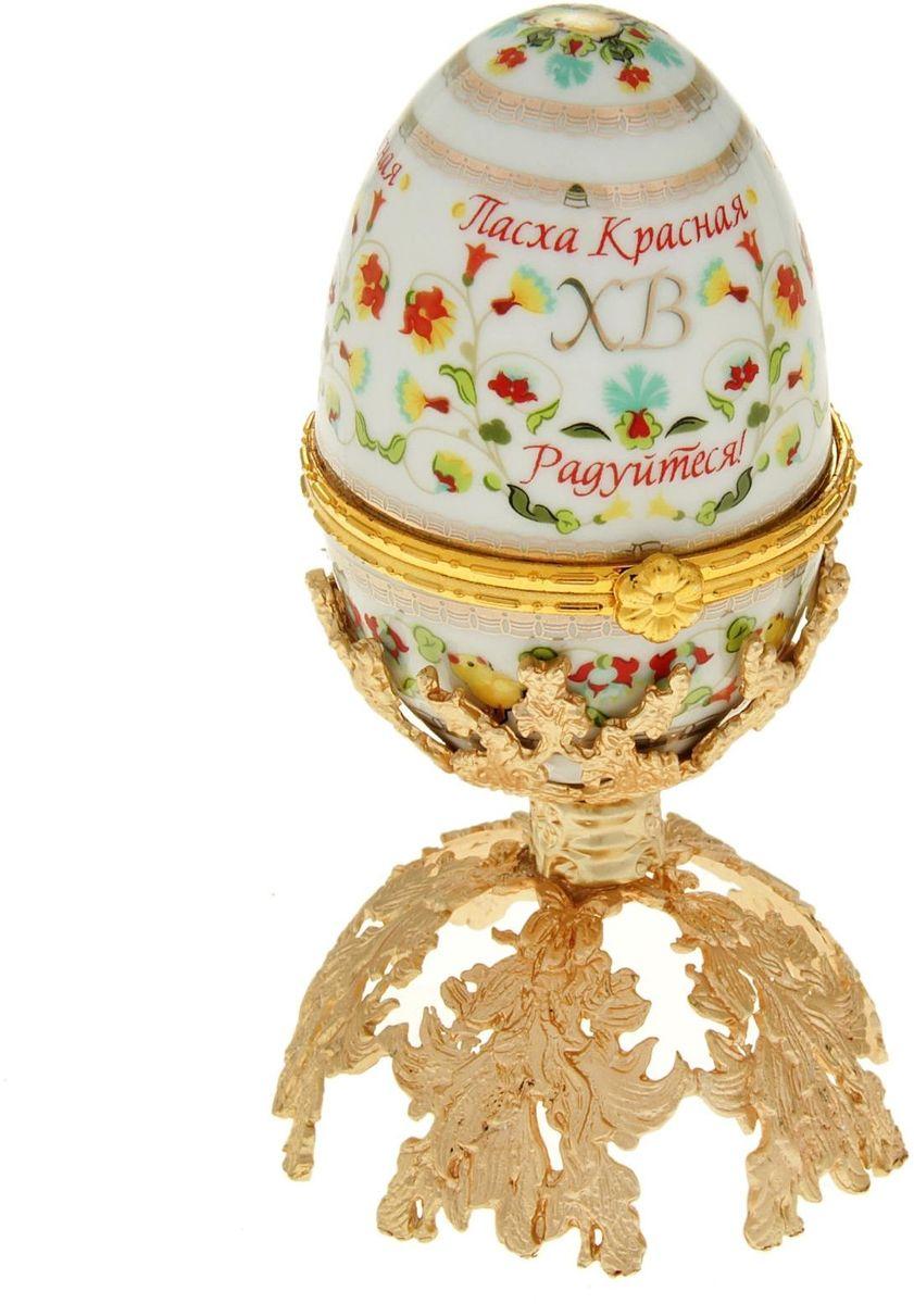 Яйцо-шкатулка Sima-land Цветочный, на металлической подставке, 10 х 6 х 6 см шкатулка царский подарок с сюрпризом металл полихромные эмали стразы monet сша начало xxi века