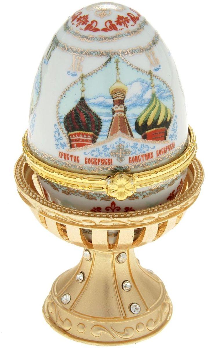Яйцо-шкатулка Sima-land Купола, на металлической подставке, 10 х 6 х 6 см шкатулка царский подарок с сюрпризом металл полихромные эмали стразы monet сша начало xxi века