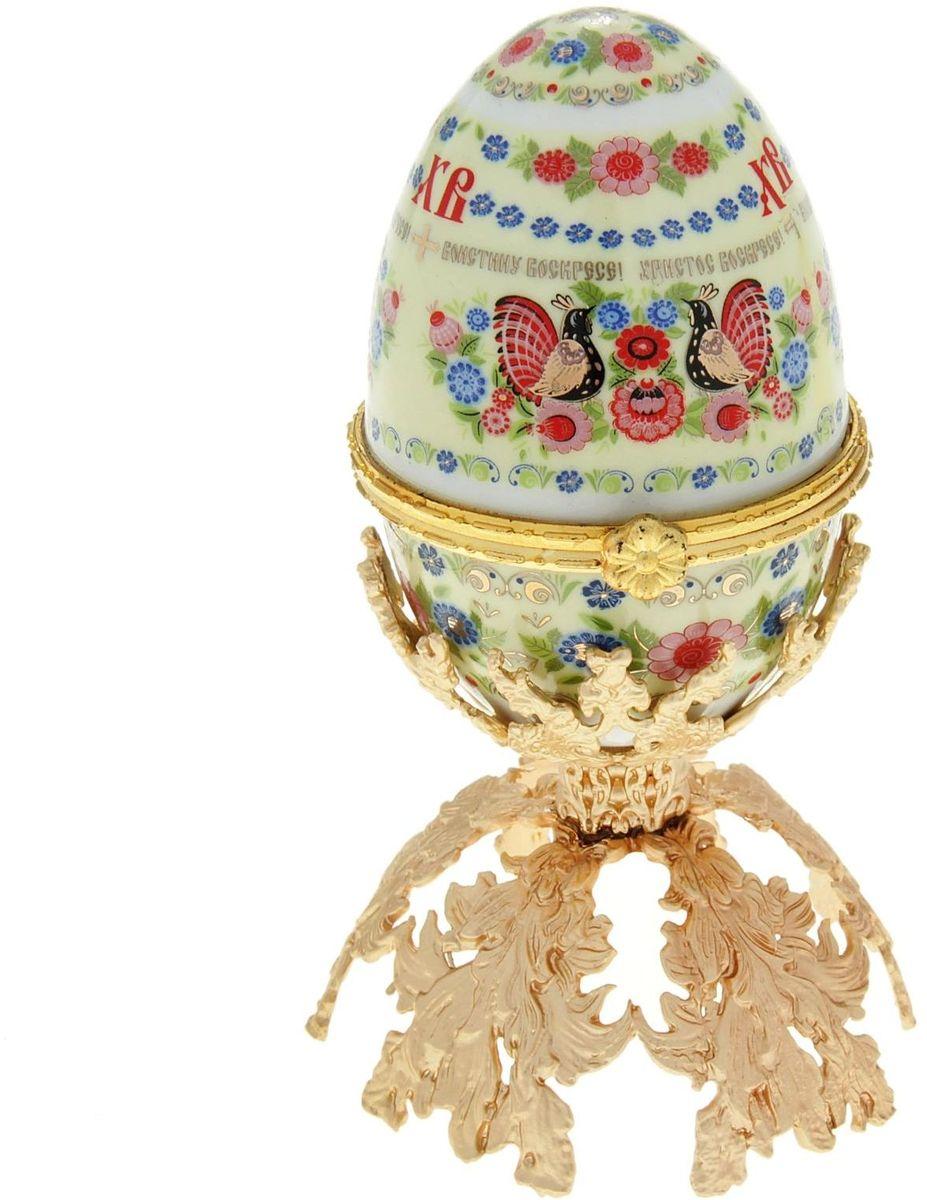 Яйцо-шкатулка Sima-land Хохлома, на металлической подставке, 10 х 6 х 6 см шкатулка царский подарок с сюрпризом металл полихромные эмали стразы monet сша начало xxi века