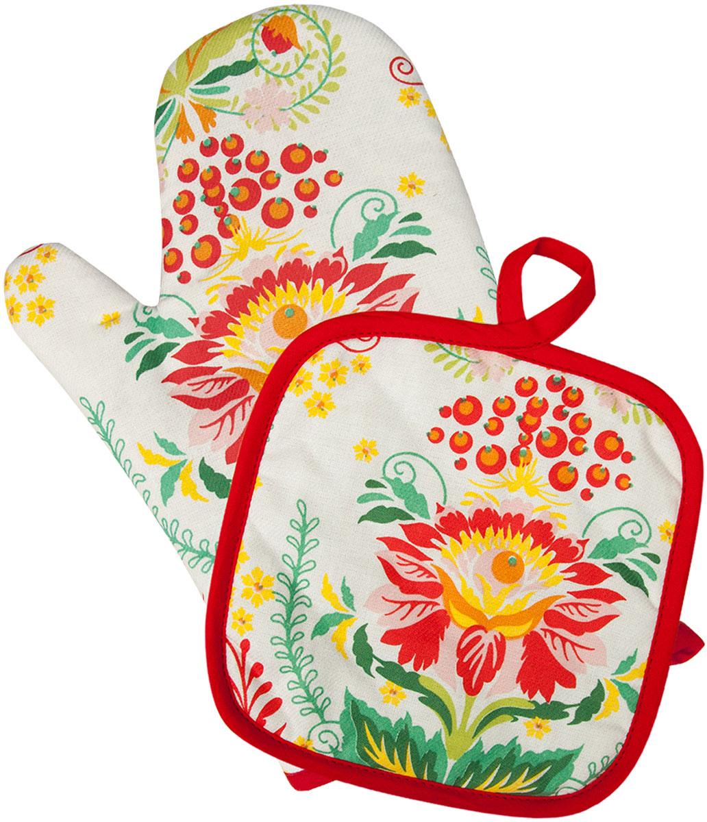 Набор прихваток Bonita Калинка, 2 предмета рукавицы прихватки фартуки karna фартук с салфеткой ainslie цвет зеленый