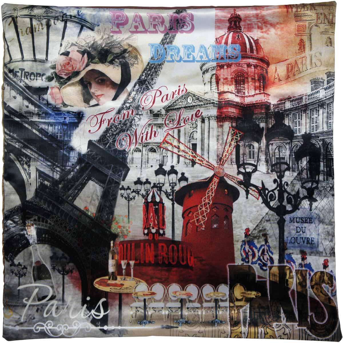 купить Наволочка для декоративной подушки Gift'n'Home Парижские фантазии, цвет: красный, черный, серый, 40 х 40 см