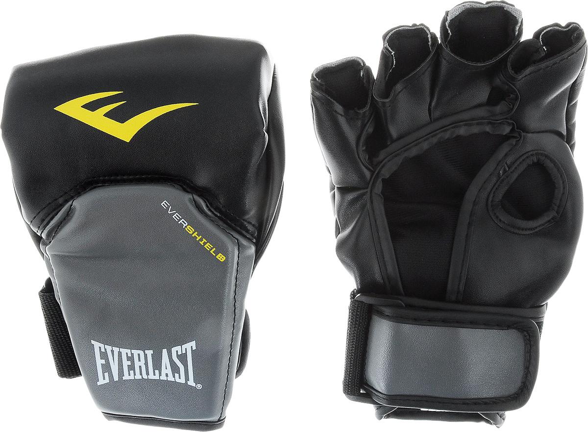 цена на Перчатки для единоборств Everlast Competition Style MMA, цвет: черный, серый, желтый. Размер L/XL